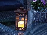 LED Gartenlaterne inkl. LED-Kerze (bernsteinfarbend) und Timerfunktion