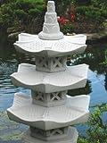 3-geschößige Japanische Steinlaterne – aus 9 Teilen bestehend für den Garten - 5