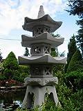 3-geschößige Japanische Steinlaterne – aus 9 Teilen bestehend für den Garten - 8