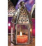 Marokkanischen Mini Eisen und Glas Laterne (Teelichthalter) Nichtornamentglas Version (rot) -