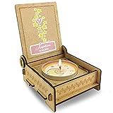 FANS & Friends Trauerkerze für Sternenkinder mit Spruch in Holz-Box mit Gravur | Personalisiert mit Namen | Gedenkkerze | Andenken