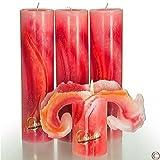 Candela Lotuskerze Aquarell rot 28 cm
