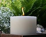 OUTDOORKERZEN, Kerze, Outdoor Kerze, groß, Flammschale, Garten, Terrasse, Dekoration, Stumpen, rund, Durchmesser 19,4 cm, H:12 cm, creme, Brenndauer 80 Std, Unikat - 4