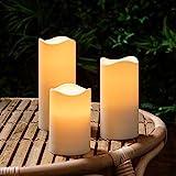 Lights4fun 3X 3er Set LED Kerzen für Außen Timer