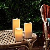 Lights4fun 3X 3er Set LED Kerzen für Außen Timer - 2