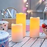 Lights4fun 3X 3er Set LED Kerzen für Außen Timer - 3
