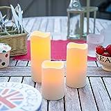 Lights4fun 3X 3er Set LED Kerzen für Außen Timer - 4