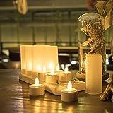 Expower 12er LED Flammenlose Kerzen,Wiederaufladbare Kerzen, Batteriebetriebene Kerzen Kabellose Teelichter LED-Weihnachtskerzen Kerzenlichter Led Wachskerzen Mit Ladestation(Ohne Netzteil) - 7