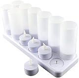 Expower 12er LED Flammenlose Kerzen,Wiederaufladbare Kerzen, Batteriebetriebene Kerzen Kabellose Teelichter LED-Weihnachtskerzen Kerzenlichter Led Wachskerzen Mit Ladestation(Ohne Netzteil) - 5