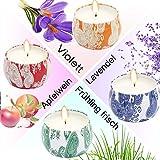 T98 Duftkerze, 2018 Duftkerzen Set 4 Stück Aromatherapie Kerze mit Baumwolldocht von Frühling frisch Violett Lavendel und Apfelwein Duft, für Yoga Spa Massage Geburtstag Weihnachten Valentinstag - 4