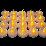 Homemory 24 LED Flammenlose Teelichter, 3.6cm Elektrische Flackernde Batteriebetriebene Kerzen, LED Votivkerzen Romantisches Gelb Teelicht