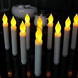 12 Stück LED Stabkerzen, Cuitan Warmweiß Flame Flicker Kerzen Batteriebetrieben Romantische Flammenlose Wachskerzen Kerzenlichter Tafelkerzen Leuchterkerzen für Weihnachten, Party, Hochzeit, Fest Deko