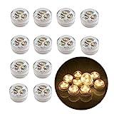 12stk Flammenlose LED Teelicht Kerzen Batteriebetriebene Tauchparty Geburtstags Hochzeit Weihnachtsdekoration Warmes Weiß