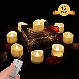 Weihnachtsdeko Teelichter LED mit Fernbedienung,Teelichter Elektrisch Flammenlose LED Kerzen Outdoor Flackernde Flamme kerze batterie für Weihnachtsdeko Hochzeit Geburtstags Party (12 Stück)