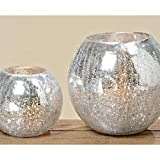 Windlicht, Teelichthalter Crackle mit spiegelnder Oberfläche, 1 Stück, ca. 16 cm x 16 cm x 14 cm