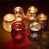 6er Set Windlicht Teelichtglas Ø 10 x 11 cm Windlichthalter Kerzenglas Windlichtset Glasvase Windlichtglas Laterne Glas Kerze - 5