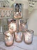 Set von 6 Mercury Glass Silber Teelichthalter Candle Votive Hochzeits-Dekoration