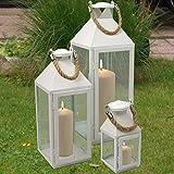 Modernes 3tlg. Metall Laternen-Set in Weiß mit Aufhängung, Gartenlaterne - 4