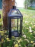 Stabile Metall Laterne für den Außenbereich – Schwarz Pulverbeschichtet - 4