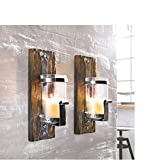 Rustikale Wandlaterne - Wandkerzenhalter aus Pinienholz und Metall