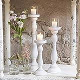 Shabby Chic Spindel Kerzenhalter Set weiß - 2
