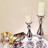 DRULINE Kerzenleuchter ALADDIN Silber Kerzenständer Kerzen Deko Keramik Dekoration (2er-Sparset (1 x Klein + 1 x Groß))