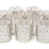 Led Papier Votiv Kerzenständer Teelichthalter 48 Silber Farbige Dekorative Kerzenhalter / Halter für Flammenlose Teelichter und Votivkerzen