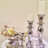 DRULINE 2 x 31 cm Keramik Kerzenleuchter Silber Kerzenständer Kerzenhalter Shabby Chic