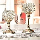 VINCIGANT Gold Kristall Kerzenhalter Set 2 für Hochzeit Tisch Mittelstücke Home Dekor,20cm&25cm Höhe - 6