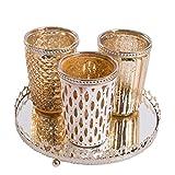 3er Windlichtset Teelichtglas mit Spiegelplatte Teelichthalter Kerzenglas Windlicht Glas Kerzentablett (Gold)
