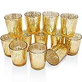 LOGUIDE Gold Quecksilber Glas Votiv Kerzenhalter - aus Quecksilber Glas mit einem gesprenkelten Gold Finish - Perfekt, um eine einzigartige Atmosphäre zu jedem Haus und Hochzeit Decor 12