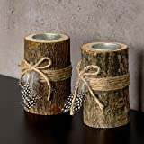 levandeo 2er Set Teelichthalter Holz je 12cm hoch Kerzenhalter Federn Kerzenständer Tischdeko - 3