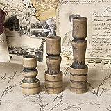 3er Set Vintage Holz-Kerzenhalter Kerzenständer Kerzenleuchter Handmade Shabby dunkel