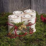 Teelichthalter aus Birkenholz im 4er Set | Adventskranz Kerzenhalter - 4
