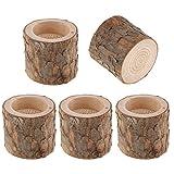 F Fityle 5X Holz Kerzenleuchter Kerzenständer ''Baumstumpf '' Design Kerzenhalte Hochzeitsdeko