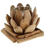Fenteer Holz Teelichthalter Teelichter Teelichtgläser Kerzenständer Kerzenhakter, Lotus -Design