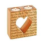 Kerzenhalter-Set mit Gravur aus Holz – Teelichthalter mit Herzaussparung – Personalisiert mit [NAMEN] – Romantisches Geschenk – Hochzeitsgeschenk – Geschenkidee zum Valentinstag
