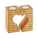 Kerzenhalter-Set mit Gravur aus Holz – Teelichthalter mit Herzaussparung – Personalisiert mit [NAMEN] – Romantisches Geschenk – Hochzeitsgeschenk – Geschenkidee zum Valentinstag - 2