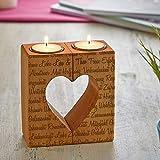 Kerzenhalter-Set mit Gravur aus Holz – Teelichthalter mit Herzaussparung – Personalisiert mit [NAMEN] – Romantisches Geschenk – Hochzeitsgeschenk – Geschenkidee zum Valentinstag - 3