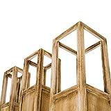 Rebecca Mobili 3er Set Windlichtsäulen Dekolaterne Kerzenhalter Holz Plexiglas Braun Shabby Vintage Haus Terrasse – 119 x 20 x 20 cm (H x B x T) – Art. RE4666 - 4