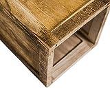 Rebecca Mobili 3er Set Windlichtsäulen Dekolaterne Kerzenhalter Holz Plexiglas Braun Shabby Vintage Haus Terrasse – 119 x 20 x 20 cm (H x B x T) – Art. RE4666 - 5