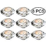 Wedecor Tee Kerzenhalter Hochwertige Kristall Glas Kerzenständer, Teelichthalter Kristall Diamant förmiger Aroma Kerzenhalter, Dekoration für Hochzeit/Esstisch (Teelichthalter, 8 Stück)