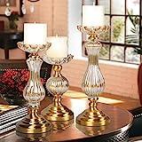 Europäische romantische Kristall Glas Kerze Hotel-Modell Messing Kerzenständer Tischdekoration--A-klein
