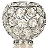 VINCIGANT Silber Schüssel Kristall Kerzenhalter für Couchtisch Dekoration Tabelle Kernstück Hochzeit Feier,Durchmesser 8cm