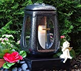♥ Grablaterne Grablicht Keramik Silber Glas Kreuz mit Grabkerze Grablampe Grabschmuck Grableuchte Laterne Grabkerze Lampe Kerze Licht Friedhof Garten