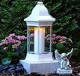 ♥ Grabschmuck Set Grablampe Weiss 30,0cm mit Sockel Engel und Grabkerze Grablaterne Grabschmuck Grableuchte Grablicht Laterne Kerze Licht Lampe Schutzengel Herz Trauer