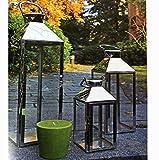 Mojawo Traumhaftes 3er Set XXL Gartenlaterne Edelstahl Windlicht Laternen Set Höhe 24/40/53cm