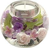 Dreamlight Moderner Teelichthalter Windlichthalter 'Florala' aus Glas 8x9 cm *Exklusive Handarbeit mit Echten Blumen Verziert*