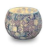 Aifusi Kerzen Teelichthalter, blau-weißes Muster Glas handgefertigte Kerzenständer, Mosaik Stil Dekoration für Party Hochzeit Geburtstagsgeschenk
