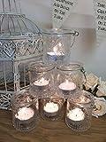 Set von 6 Weinlese-Teelichthalter aus Glas Candle Votive Hängende Gläser Hochzeitsdekoration